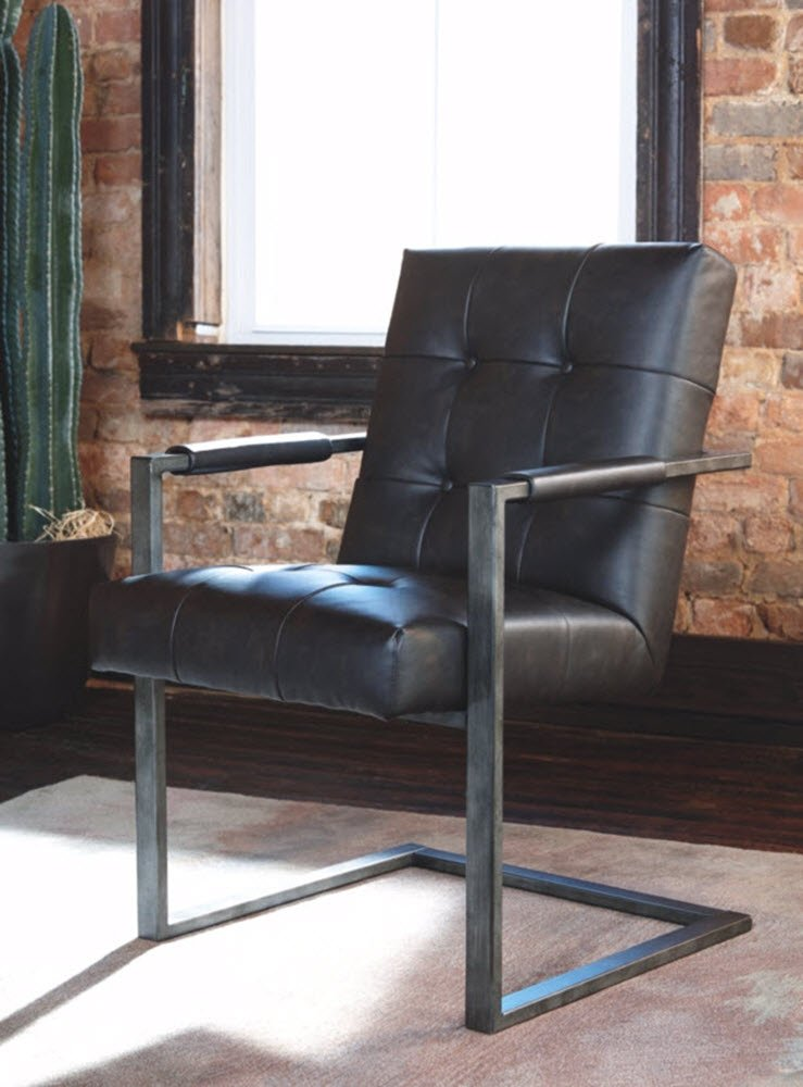 Ashley Furniture Signature Design - Starmore Home Office Desk Chair - Contemporary - Tufted Black Faux Leather
