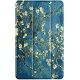 TNP Slim Case for All-New Amazon Fire 7 Tablet (7th Generation, 2017 Release), Ultra Lightweight Slim Shell Standing Cover with Auto Wake / Sleep (Almond Blossom - Van Gogh)