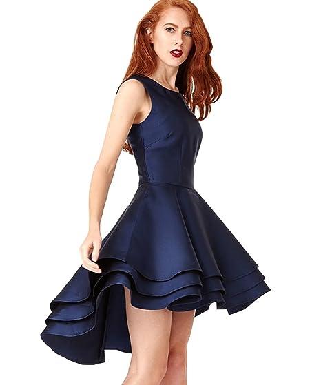 Yilis Vestido De Satén Para Mujer De Una Línea Alta Y Baja