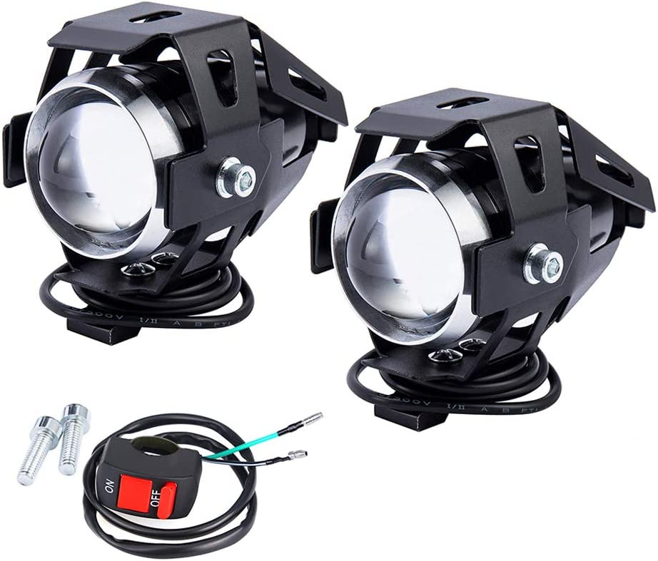 2 PCS Fari Moto Faretto Anteriore U5 LED con Interruttore On Off Fanale Lampada Universale per Moto Auto Bici Camion Barca da 3000 LM e 125 W