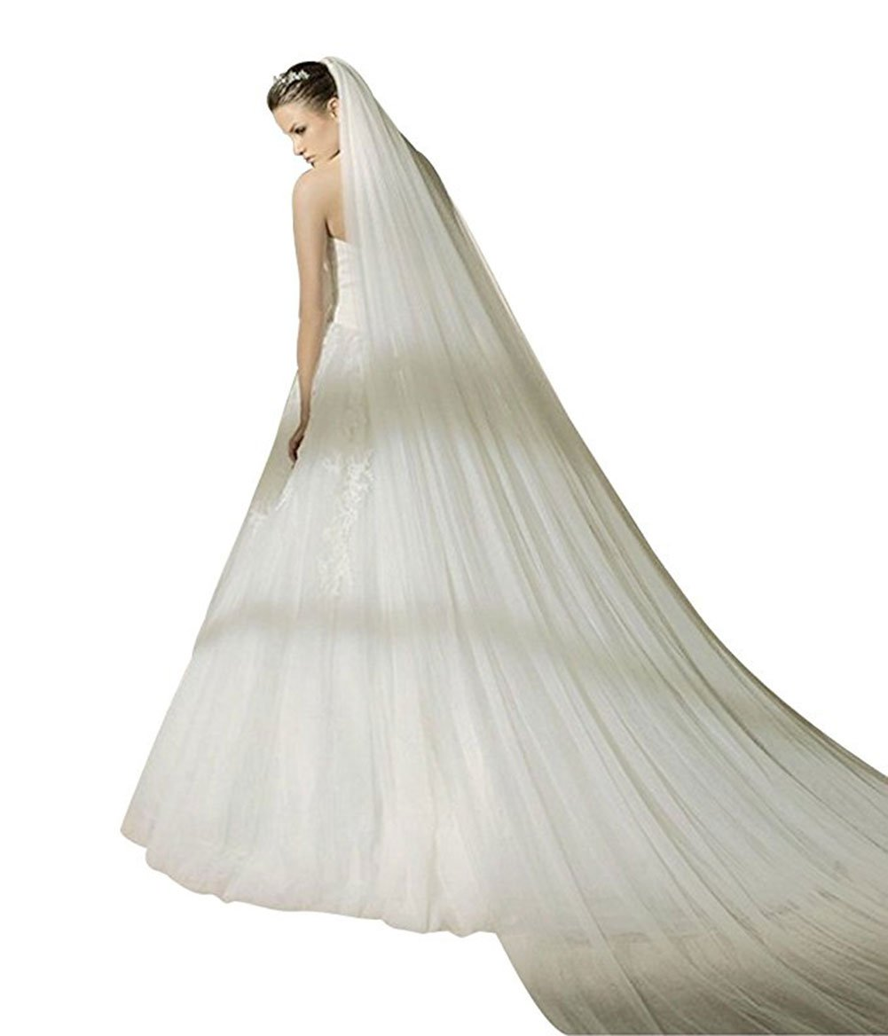 Bridal Wedding Veil 1T Trailing Long Cut Edge with Comb White Ivory (Ivory, 1T)