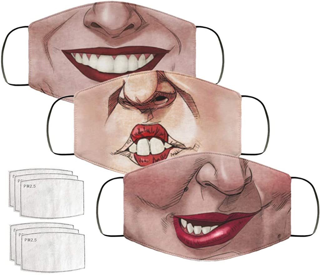 und Nasenschutz Sommer Bandana mit Motiv Atmungsaktiv Waschbar Staubdichte Halstuch Tuch Multifunktionstuch Blingko Mundschutz Unisex 3D Lustiger Wendbar Mund