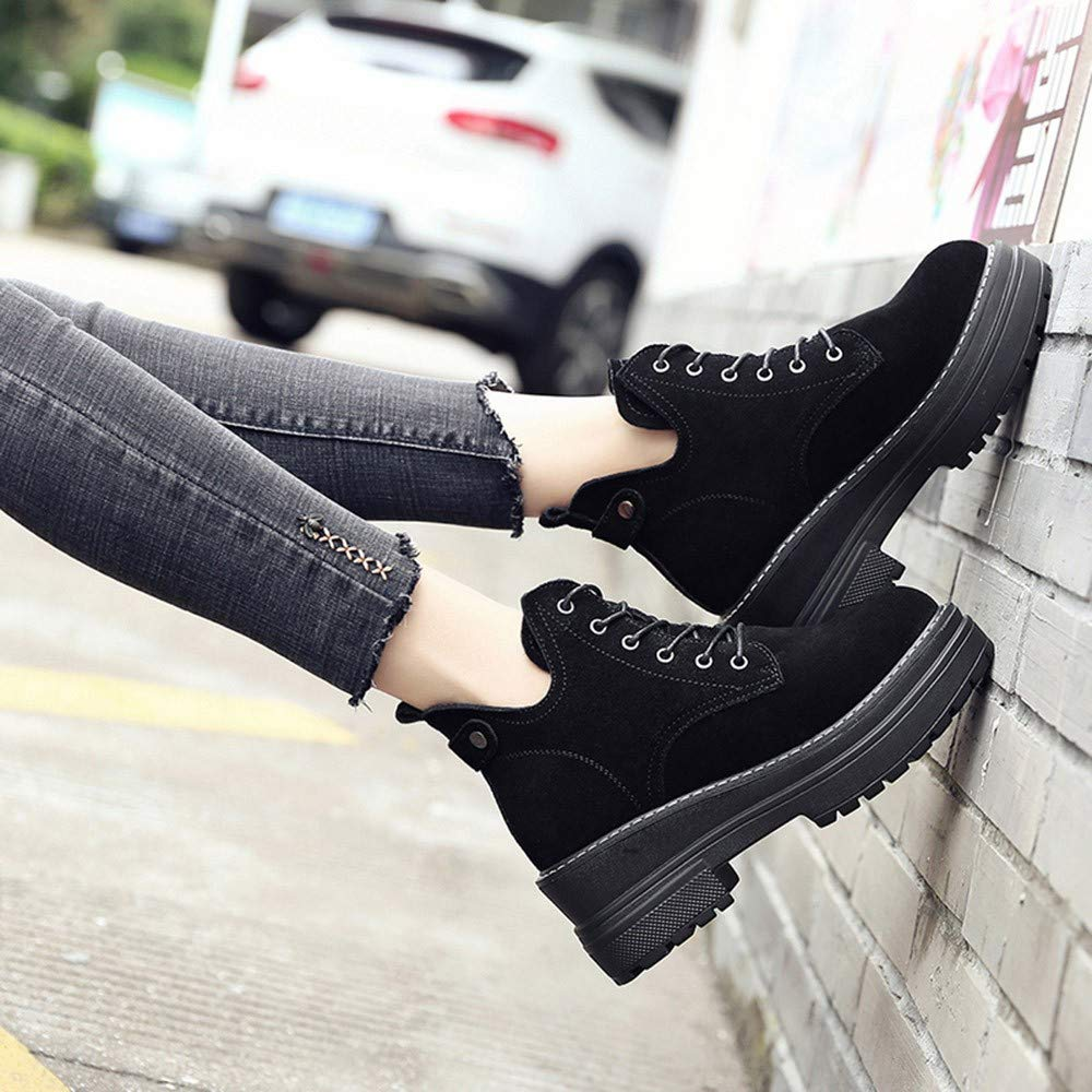 GoodLock Women Fashion Boots Ins Style Winter Warm Thick Short Booties Lace-Up Round Toe Shoes