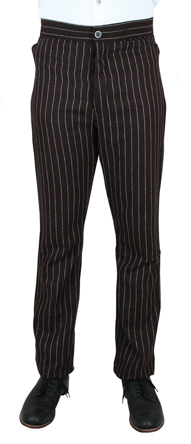 1920s Style Men's Pants & Plus Four Knickers Mens High Wool Pinstripe Dress Trousers $75.95 AT vintagedancer.com