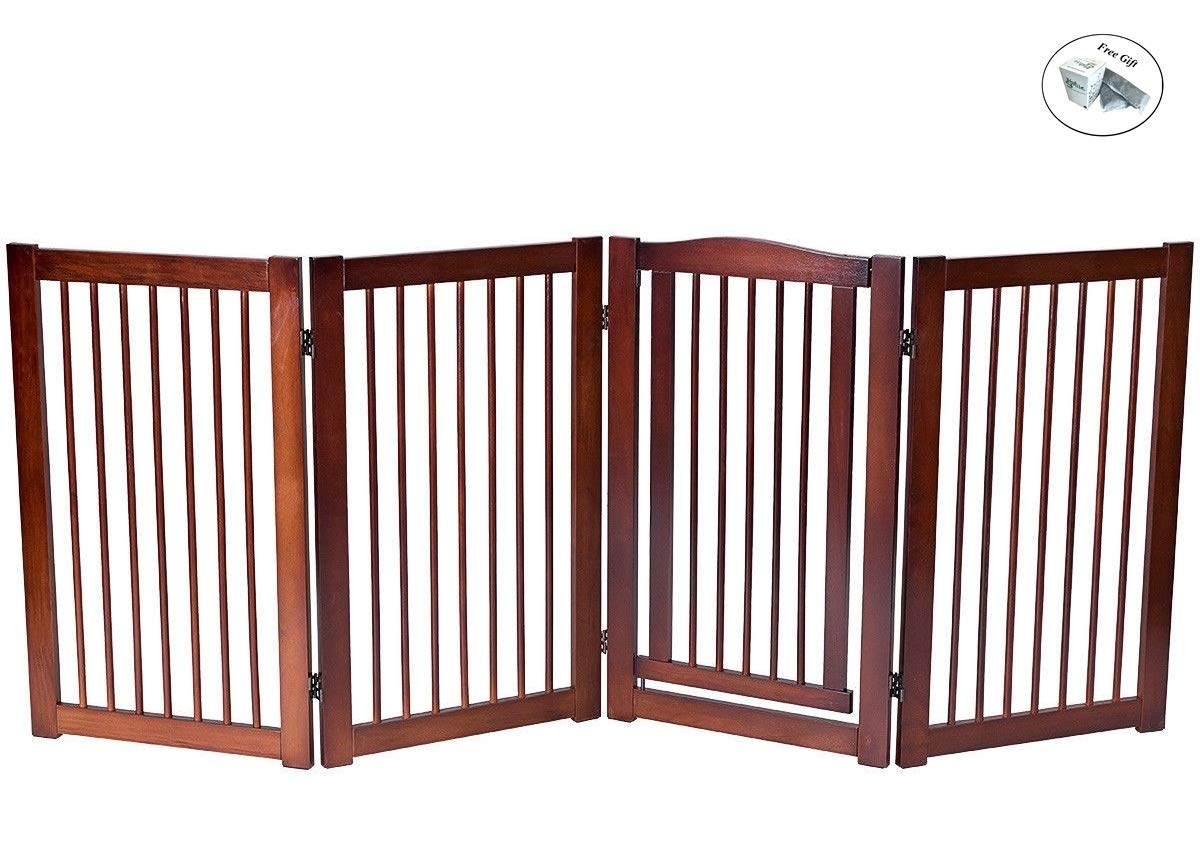 CWY 36'' Configurable Folding Wood Pet Dog Safety Fence with Gate A Only by eight24hours by CWY