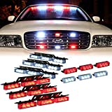 Sanku 54+18 LED Emergency Service Vehicle Dash Deck Grill Warning Light,Ultra Bright for Car ATV Truck Rv Suv Etc-Red White