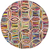 Safavieh Nantucket Collection NAN441A Handmade Abstract Geometric Multicolored Cotton Round Area Rug (6′ Diameter) For Sale