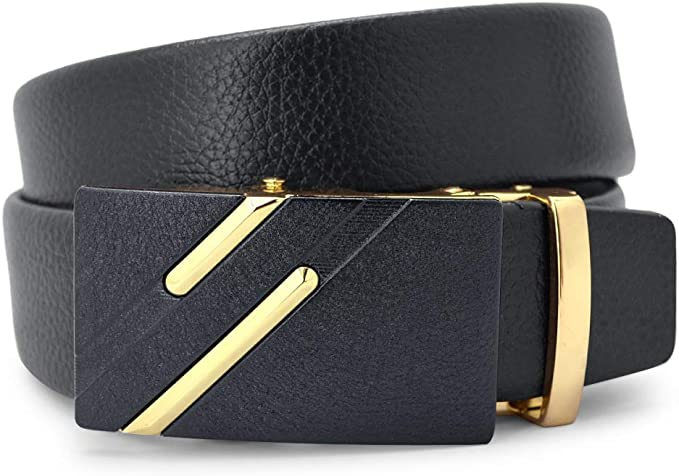 DENGDAI Mens Belt Automatic Buckle Belt Leisure Belt Length 110-130cm