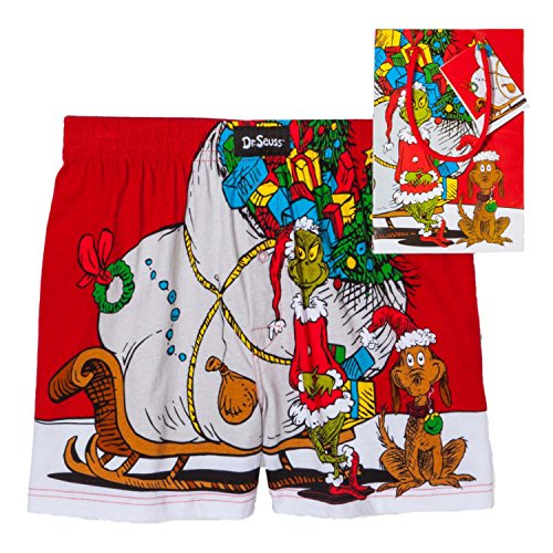 Dr. Seuss Men's Grinch and Max Sled Cotton Jersey Boxer, Red, X-Large (Grinch Sled)