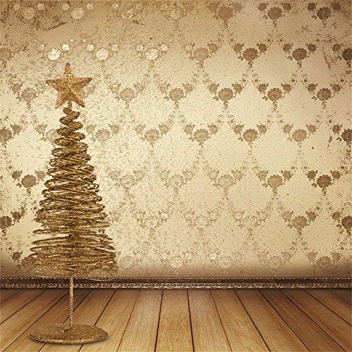 Leowefowa 5X5FT Vinyl Photography Backdrop Christmas Tree Golden Star Shabby Chic Damask Wall Vintage Stripes Wooden Floor Interior Background Kids Children Adults Photo Studio Props ()