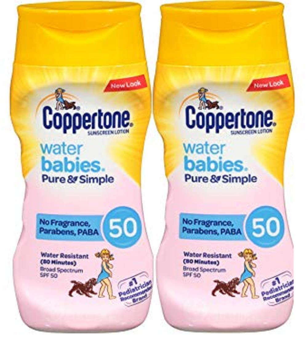 Coppertone WaterBabies Pure & Simple Mineral Based Lotion + BABY ON SIGN 6-Fluid Ounce Bottle (PACK Of Two) by Coppertone