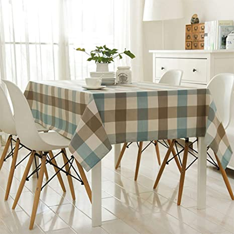 Comfy Home Blue Grey Checkered Tablecloth Waterproof Table Cover For Kitchen Dinner Thanksgiving And Holiday Decoration Rectangle 60 X 120 Inch Margaurynjord