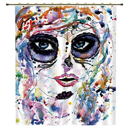 Shower Curtain,Sugar Skull Decor,Halloween Girl with Sugar Skull Makeup Watercolor Painting Style Creepy Decorative,Multicolor,Polyester Shower Curtains Bathroom Decor Sets with (Do Your Own Halloween Makeup)