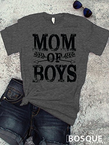 Mom of Boys T-Shirt / Unisex Shirt Distressed design with Arrow and Feather BoHo Style - Ink Printed