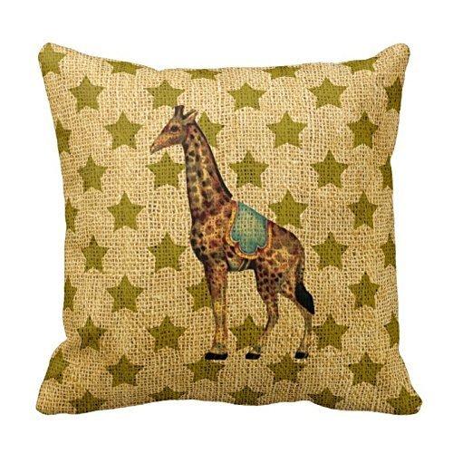 Vintage Circus Giraffe On Green Stars PillowsCustomized Square Custom Throw Pillow Case Cushion Cover Pillowcase Pillow Cover (Circus Bedding)