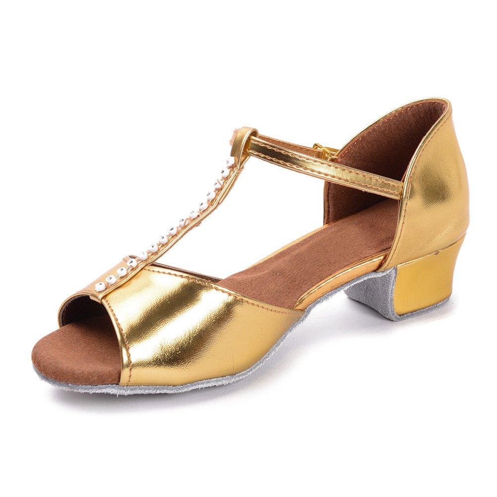 HIPPOSEUS Girls'leather Latin Dance Shoes Ballroom Shoes,Model UK201