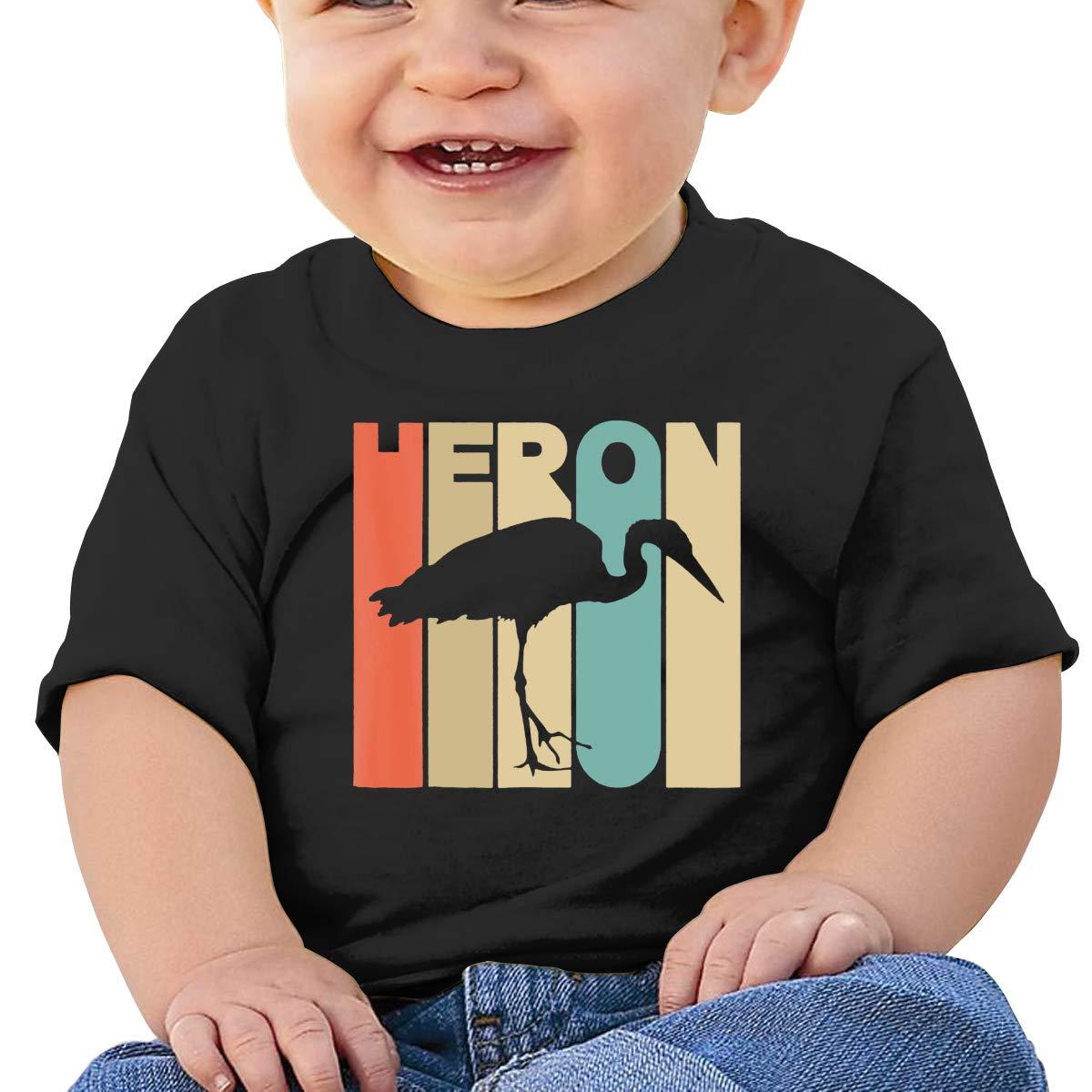 Vintage Style Heron Silhouette Boy Girl Newborn Short Sleeve T-Shirt 6-24 Month Cotton Tops