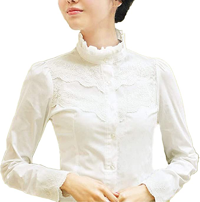 Edwardian Blouses |  Lace Blouses & Sweaters Nonbrand Womens plain shirt. £13.00 AT vintagedancer.com