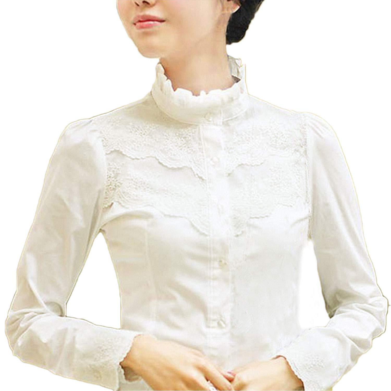 Lady Ruffle Shirt Blouse Top Victorian Vintage White Long Sleeve Chiffon Elegant
