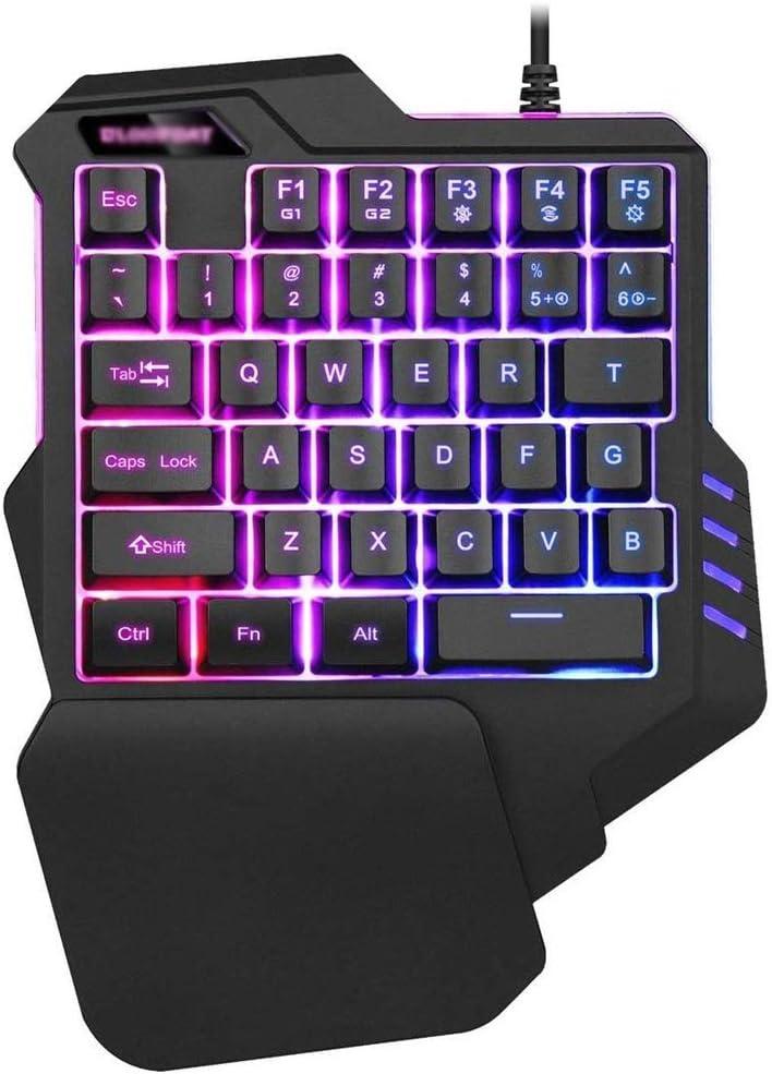 SCDJK One Handed Gaming Keyboard 35 programmable Keys for one Handed Keyboard//Typing Gaming keypad,RGB LED Backlit