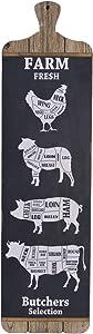 NIKKY HOME Farmhouse Wall Decor Farm Fresh Butcher Shop Meat Cuts Prints Butchers Selection Chart Guide Diagram Beef Pork Chicken Cuts Restaurant Plaque Sign