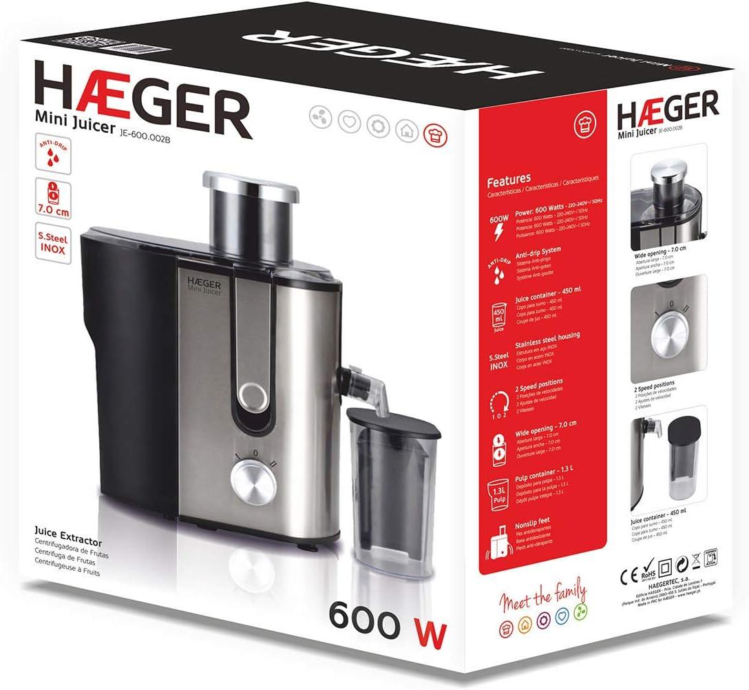 HAEGER MINI JUICER - Licuadora 600W de potencia, capacidad de 1,3L ...
