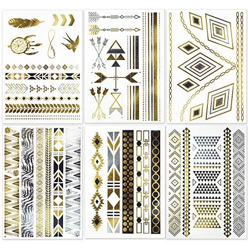 Hakuna 6 Sheets Metallic Temporary Tattoos - Jewelry Patterns in Flash Gold/ Silver