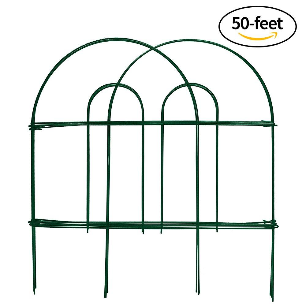 Amagabeli Decorative Garden Fence 18 in x 50 ft Rustproof Green Iron ...
