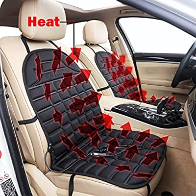 Zone Tech Car Heated Seat Cover Cushion Hot Warmer - 2-Pack 12V Classic Black Heating Warmer Pad Hot Cover Perfect for Cold Weather and Winter Driving