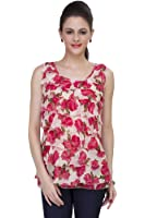 ISHIN Floral Printed Women's Georgette Red & White Cocktail Party Wear Western Top
