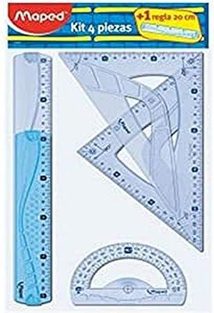 Maped 227835 - Kit trazado 4+1, regla de 30 cm, cartabón, escuadra ...