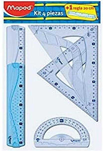 Maped 227835 - Kit trazado 4+1, regla de 30 cm, cartabón, escuadra, transportador y regla 20 cm, Colores Surtidos: Amazon.es: Oficina y papelería