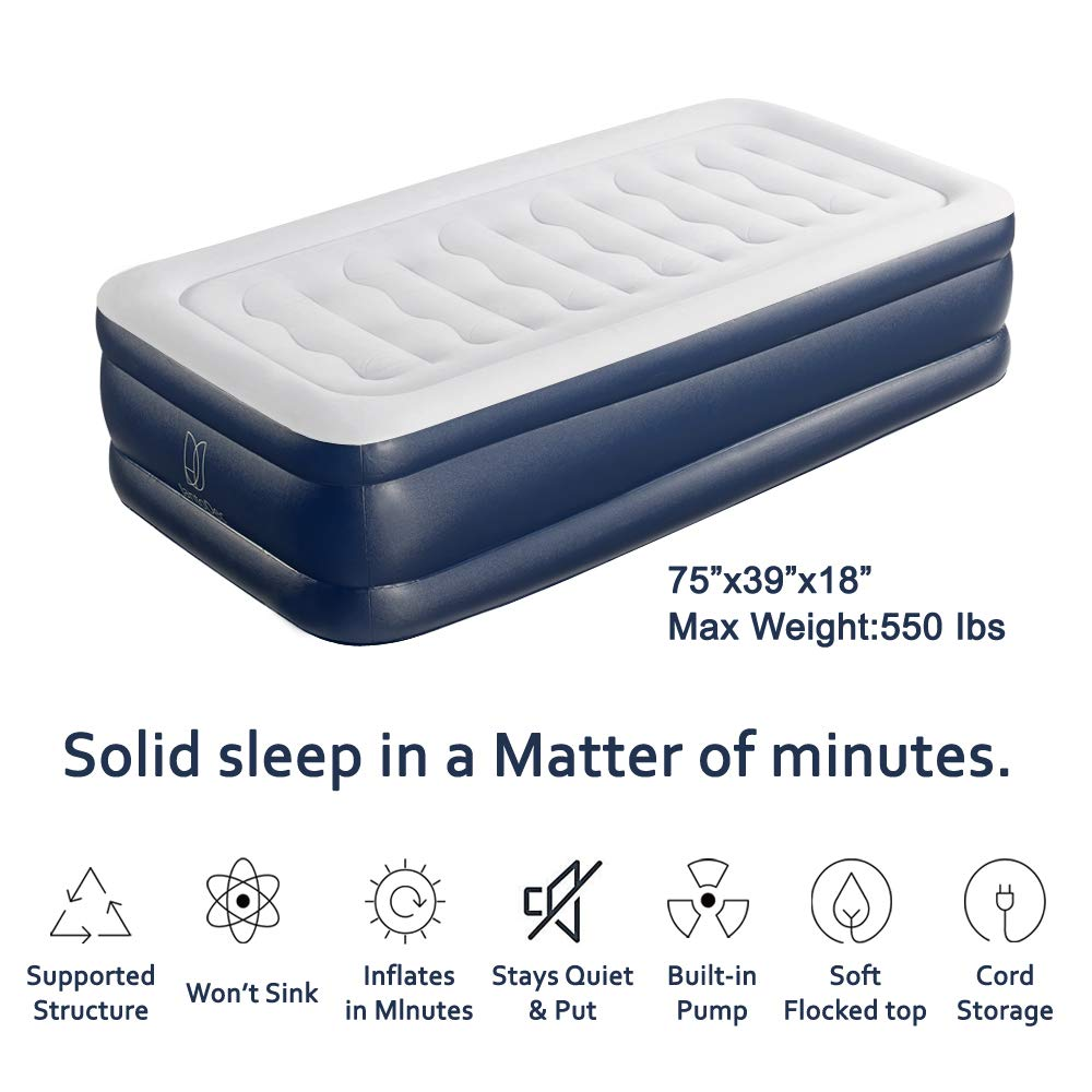 JantoDec Air Mattress Twin Size Inflatable Mattress PVC Inflatable Bed with Built in Pump Easy Fast Inflation Comfortable Skin Friendly Flocked Top Twin Air Mattress Ergonomic Design
