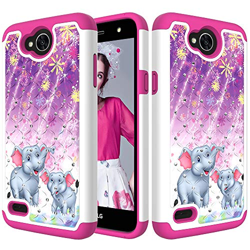 DAMONDY LG X Charge Case,LG X Power 2,LG Fiesta LTE, 3D Cute Diamond Bling Glitter 2 in 1 Shockproof Hybrid Heavy Duty Shock Dual Layer Armor Defender Cover Phone Case Fit for LG LV7-elephant