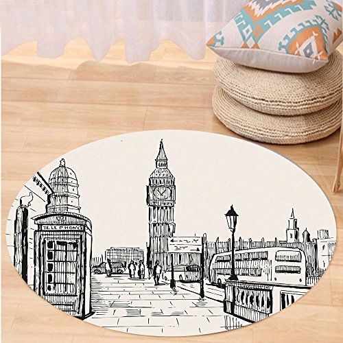 VROSELV Custom carpetModern London City with Big Ben Monument Scene in Sketch Style British Famous Town Artwork for Bedroom Living Room Dorm Grey Cream Round 34 inches - Hanger Style Double Sided Floor