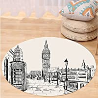 VROSELV Custom carpetModern London City with Big Ben Monument Scene in Sketch Style British Famous Town Artwork for Bedroom Living Room Dorm Grey Cream Round 34 inches