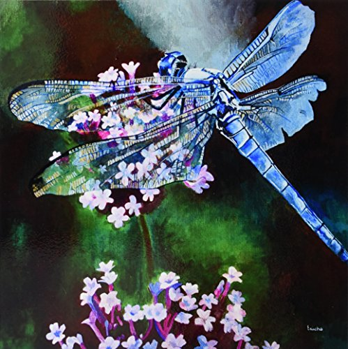 3dRose ct_128365_4 Blue Dragonfly a Dragonfly with Blue Body and Irri Wouldescent Wings on Pink Flowers Ceramic Tile, 12-Inch