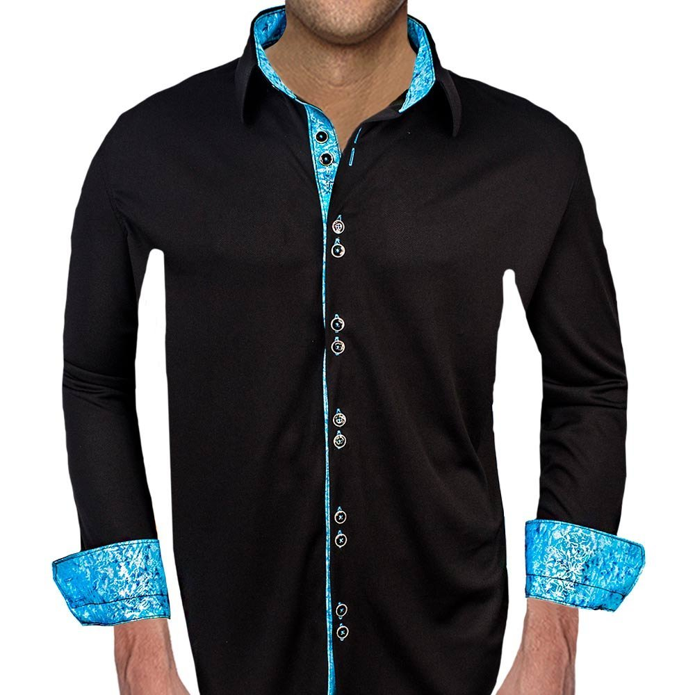 Black with Blue Metallic Moisture Wicking Dress Shirts - Made in the USA