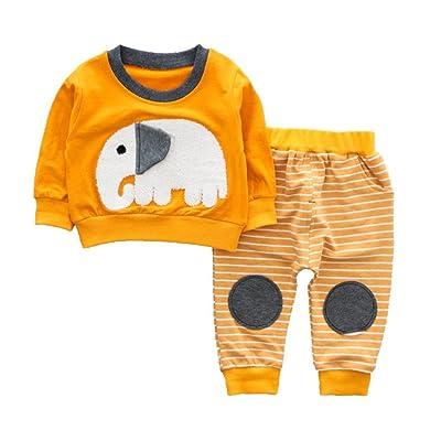 Botrong® Fashion Baby Boys Girls Cute Elephant Cotton Top + Pants Clothes Set