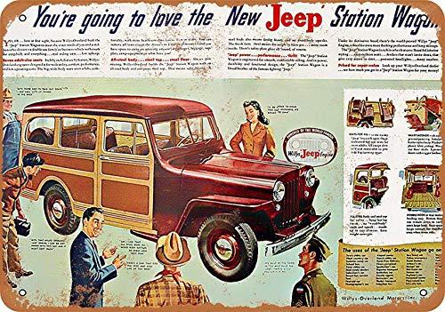 SteelLtd Wall Decor Home Tin Sign Vintage - Jeep Woody -8 x 12 - Tin Sign Woody