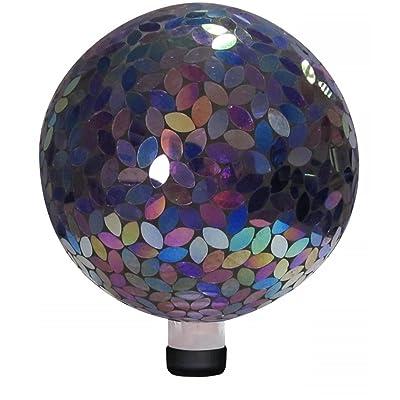 "Alpine Corporation Purple Gazing Globe - Glass Sphere with Neck - Outdoor Yard Art Decor - 10"" x 10"" x 12"" : Gazing Balls : Garden & Outdoor"