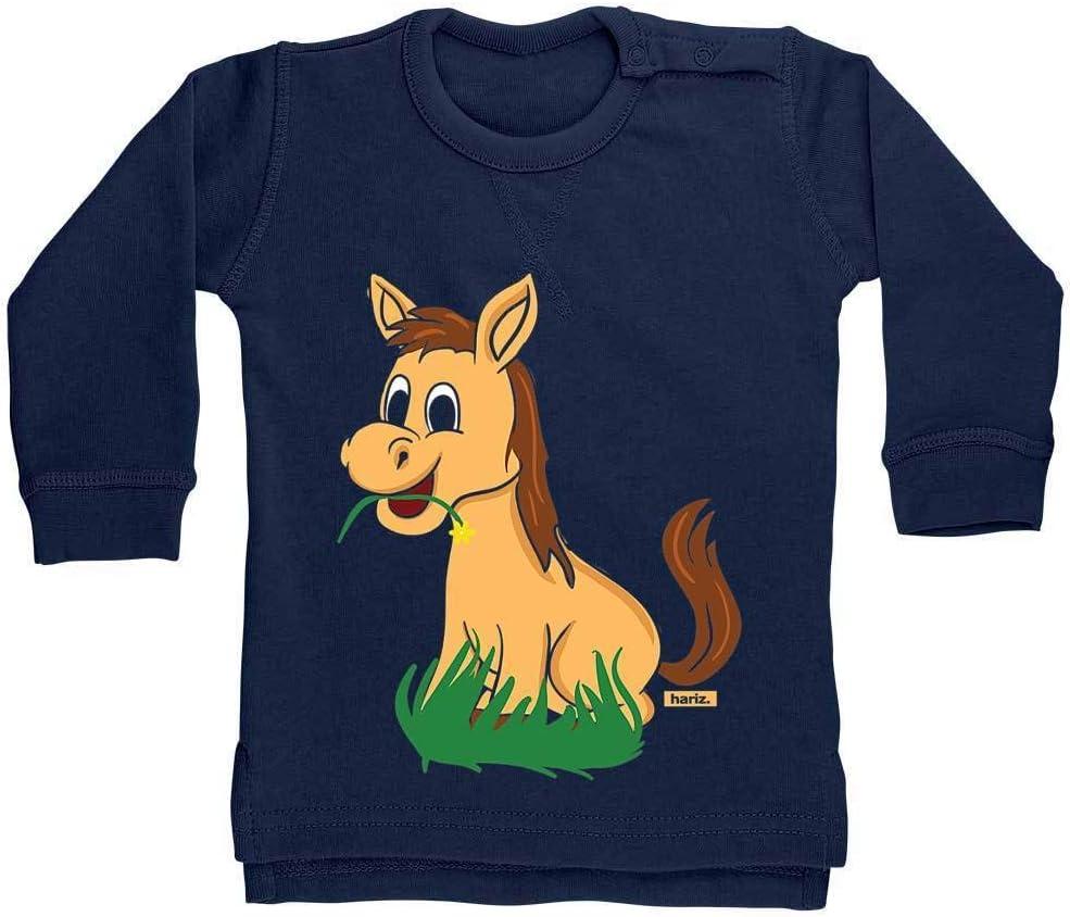 Hariz - Jersey para bebé con diseño de caballo y hierba, incluye tarjeta de regalo azul Azul Oscuro Talla:18-24 meses