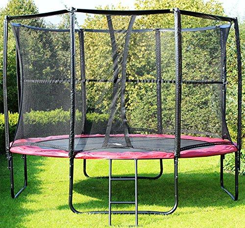 MIWEBA SPORTS Exclusiv Trampolin 12 FT 366 cm komplett Set in rot Gartentrampolin