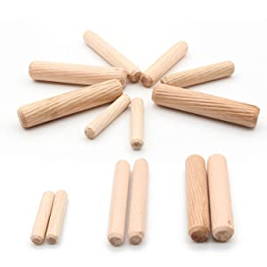 """Hub's Gadget 300pcs 1/4"""" 5/16"""" 3/8"""" Wooden Dowel Pins Wood Kiln Dried L Fluted and Beveled Ends Tapered for Easier Insertion Straight Grooved Pins for Furniture Door and Art Projects"""
