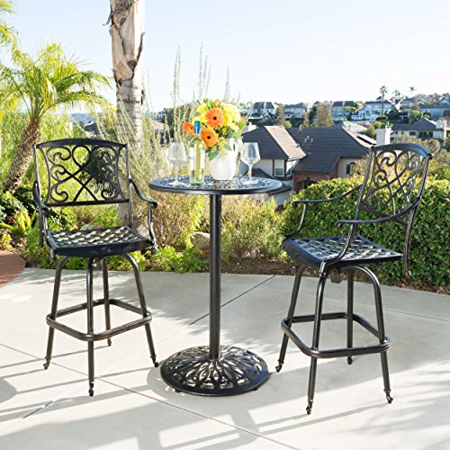 - Christopher Knight Home 220510 Paris Outdoor 3pc Copper Cast Aluminum Bistro Set