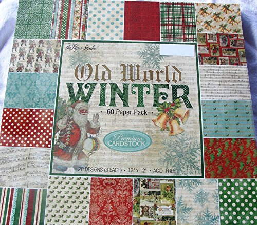 Old World Winter Christmas Scrapbooking Cardmaking Paper Pack 12x12 Dots Music Holly Snowflakes Damask Plaid 60 Sheets