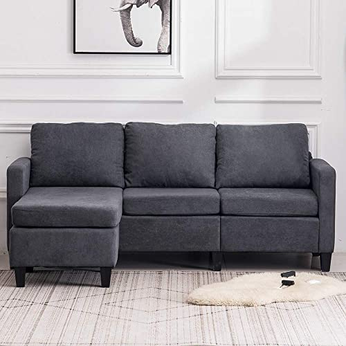 VINGLI Convertible Sectional Sofa Small 3-Seater Sectional Couch L-Shape Upholstered Sectional Sofa Couch