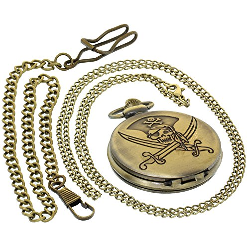 Pocket Watch Pirates Skull Dagger with Chain Steampunk for sale  Delivered anywhere in USA