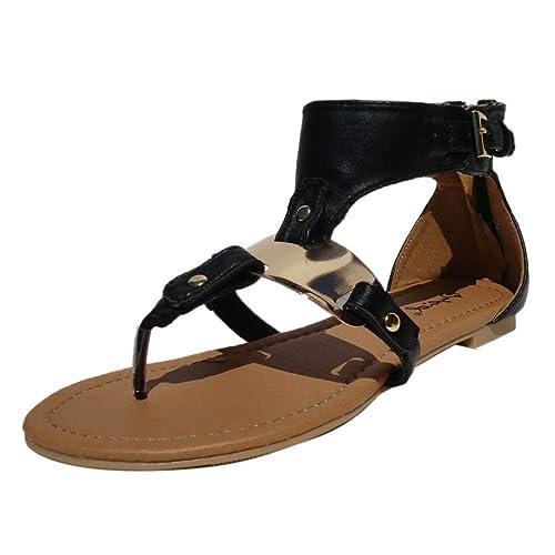 3120c04e289f Qupid Women s Blink142 Black Leatherette T-Strap Gold Plated Gladiator  Sandal 6.0 ...