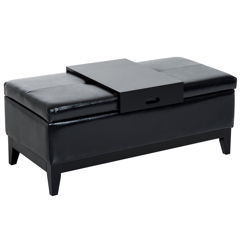 "HomCom 42"" Rectangular Storage Ottoman Bench with Tray (Black)"